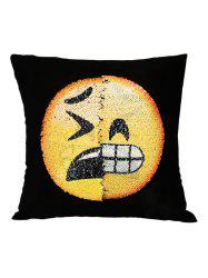 Grinning Face Emoji Reverisble Sequin Decorative Pillow Case