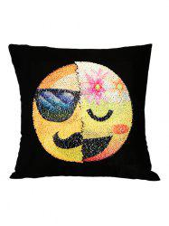 Mustache Emoticons Reverisble Sequin Decorative Pillow Case