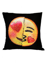 Heart Eyes Emoji Reverisble Sequin Decorative Pillow Case