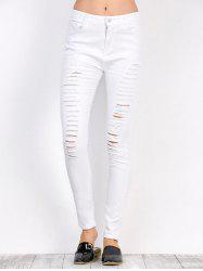 Distressed High Waist Stretchy Skinny Pants - WHITE