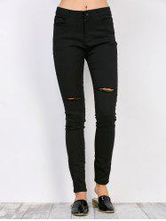 High Waisted Distressed Jeans - BLACK