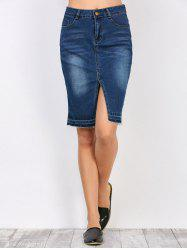 High Waisted Furcal Denim Jean Pencil Skirt with Pockets - DEEP BLUE