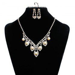 Artificial Pearl Wedding Rhinestone Jewelry Set - SILVER