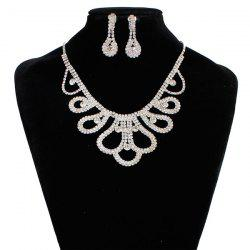 Rhinestone Floral Design Wedding Jewelry Set