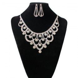 Rhinestone Floral Hollow Out Jewelry Set - SILVER