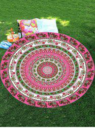 Thailand Elephant Round Shape Chiffon Mandala Beach Throw -