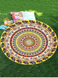 Thailand Elephant Mandala Chiffon Round Beach Throw - COLORMIX
