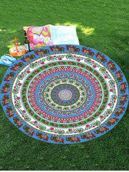 Thailand Elephant Print Mandala Round Shape Beach Throw