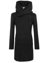 Longline Double Breasted Hooded Woolen Coat - BLACK