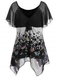 Butterfly Print Chiffon Plus Size Top