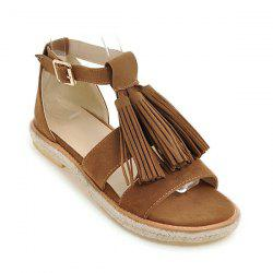 Tassels Suede Espadrilles Sandals - BROWN