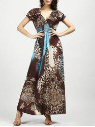 V Neck Leopard Printed Bohemian Maxi Dress - BLUE AND BROWN