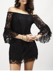 Off Shoulder Lace Sheer Club Short Dress With Sleeves