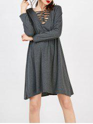 Criss Cross A Line Dress with Long Sleeves