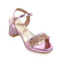 Mid Heel Rhinestones Sandals - PINKISH PURPLE