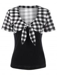 V Neck Front Bowknot Plaid T-Shirt