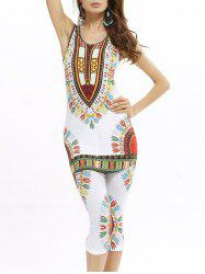 African Print Longline Tank Top and Cropped Pants
