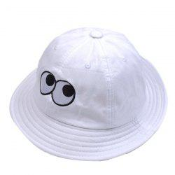 Bucket Sun Hat with Cartoon Eyes Embroidery - WHITE