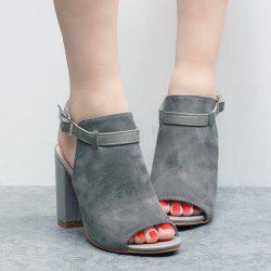 Block Heel Slingback Sandals - GRAY