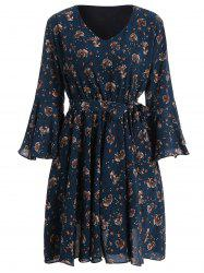 Plus Size Bell Sleeve Floral Flare Dress -