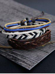 Rope Woven Faux Leather Bracelet Set -