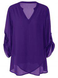 Plus Size Split-Neck Adjustable Sleeve Blouse - PURPLE