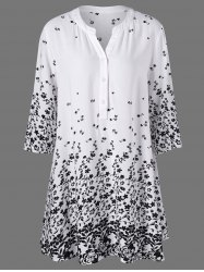 Plus Size Tiny Floral Long Henley T-Shirt