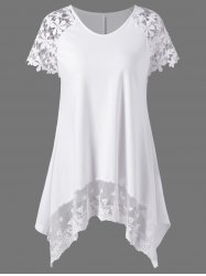 Plus Size Lace Trim Cutwork Asymmetrical Long T-Shirt - WHITE