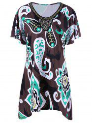 Plus Size Sequined Printing Asymmetric T-Shirt