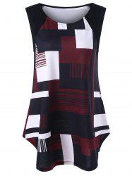 Geometric Plus Size Extra Long Tank Top - BLACK AND WHITE AND RED