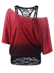 Cold Shoulder Lace Ombre Top - CLARET L