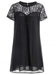 Lace Panel Casual Shift Dress Fashion