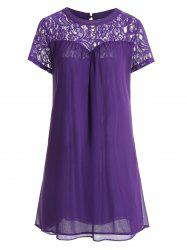 Lace Panel Casual Shift Dress Fashion - PURPLE