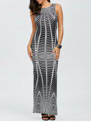 Stripe High Slit Maxi Dress