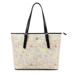 Crown Detail Cartoon House Printed Shoulder Bag