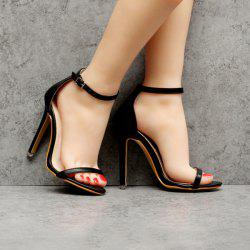 Ankle Strap PU Leather Sandals - BLACK