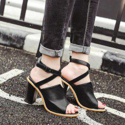 Faux Leather Cross Strap Sandals - BLACK
