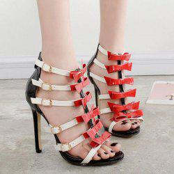 Zipper Multicolor Buckle Sandals