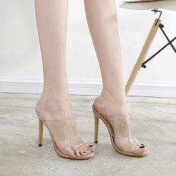 Transparent Plastic Mini Heel Sandals - APRICOT