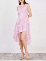 High Low Flowy Wedding Party Lace Dress - PINK