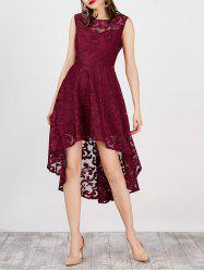 High Low Sleeveless Lace Club Party Dress - WINE RED