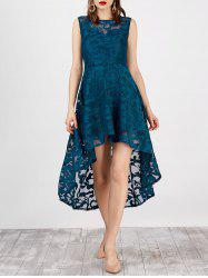 Lace High Low Swing Evening Party Dress - PANTONE TURQUOISE
