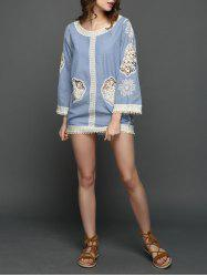 Crochet Panel Embroidered Dress