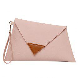 Asymmetrical Clutch Bag with Wristlet - PINK