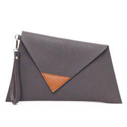 Asymmetrical Clutch Bag with Wristlet - GRAY HORIZONTAL