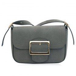 Square Buckle Suede Crossbody Bag