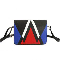 Geometric Print Flap Crossbody Bag - BLUE