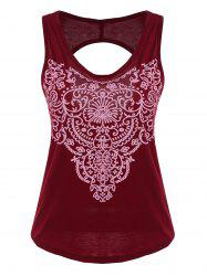 Printed Cut Out Racerback Tank Top -