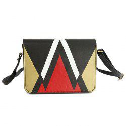 Geometric Print Flap Crossbody Bag - GOLDEN