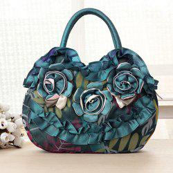 Satin Ruffle and Flowers Handbag - BLACKISH GREEN